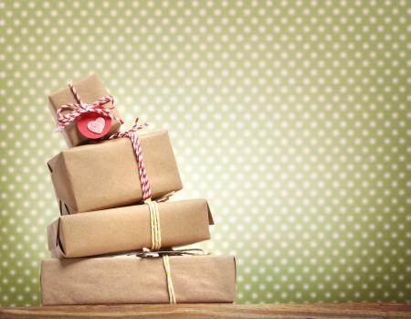 Handmade gift boxes over polka dots  photo