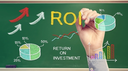 Hand drawing ROI (return on investment) on chalk board photo