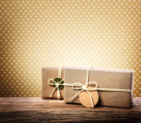 wood box: Handmade gift boxes over polka dots background