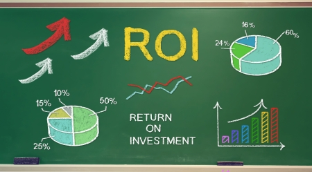 ROI (return on investment) concepts on chalk board