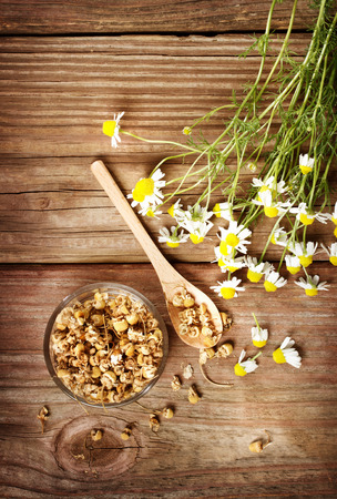 Dried chamomile tea with fresh chamomile flowers on rustic wooden table photo