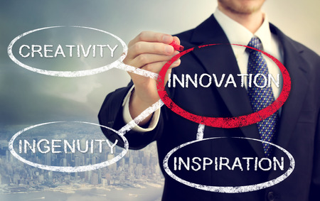 ingenuity: Businessman circling a innovation bubble connected to creativity, ingenuity, and inspiration Stock Photo