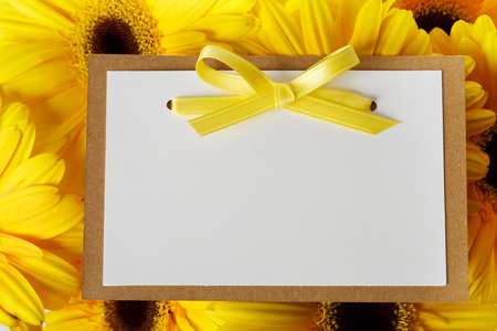 Blank message card with beautiful yellow gerberas