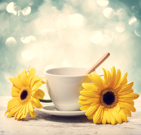 Coffee cup with yellow gerberas over shiny blue background