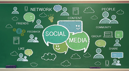Social media texts and cartoon on green chalk board Imagens