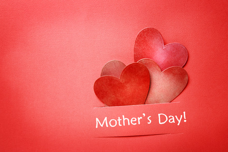 Mothers day message with paper cut hearts