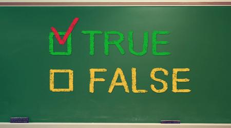 TRUE or FALSE check box on green chalkboard