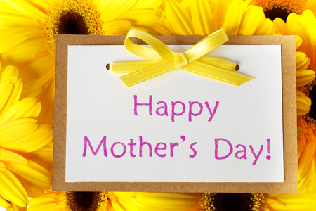 Mothers day message card with yellow gerberas Stock Photo