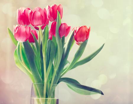 tulips in vase: Beautiful red tulips in vase in vintage style