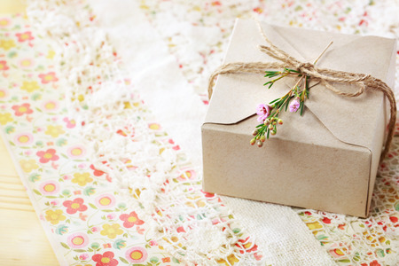 crafted: Hand crafted card stock present box with wax flowers