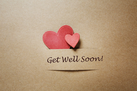 get well: Get Well Soon message with red paper hearts
