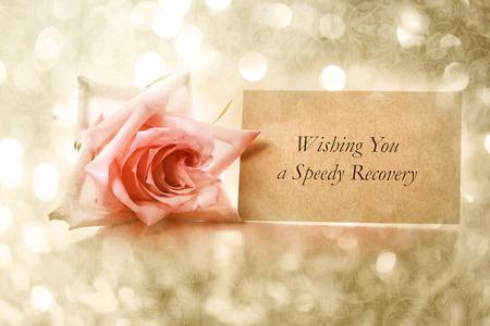 Ik wens U een snel herstel bericht met vintage rose