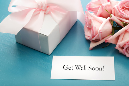 Get Well Soon card with gift box and pink roses