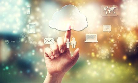 multimedia icons: Cloud computing theme with person pushing cloud button Stock Photo