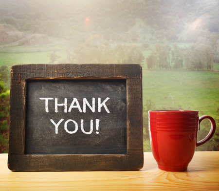 Thank you inscribed on chalkboard in rustic style photo