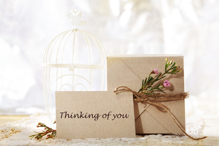 Thinking of you, hand crafted gift box and greeting card photo