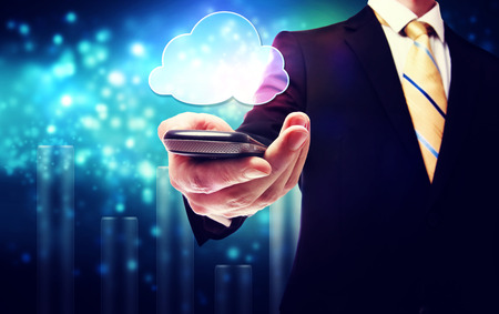 connectivity: Smart phone cloud connectivity service theme with business man