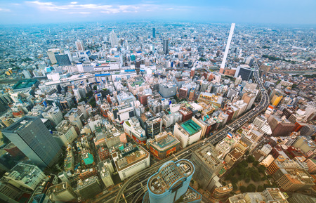bustling: View of a bustling Tokyo from above