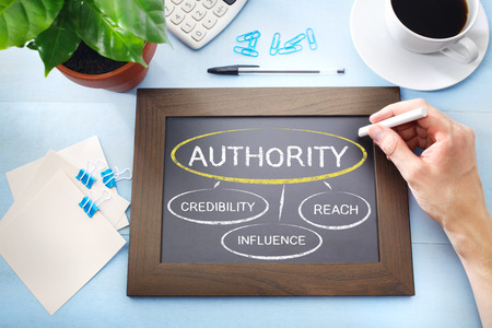 Authority and its sources mapped out on a blackboard photo