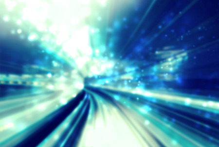 tunnel light: Light tunnel blue abstract futuristic pathway background Stock Photo