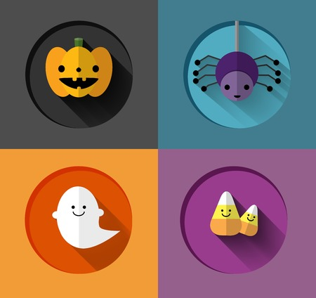 Halloween inspired pumpkin, spider, ghost and candy corn flat illustrations Vector
