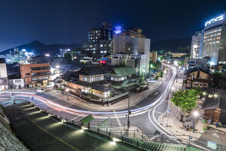 onsen: Dogo Onsen of Matsuyama, Japan. Dogo Onsen is one of the most famous hot spring bath houses in Japan Stock Photo
