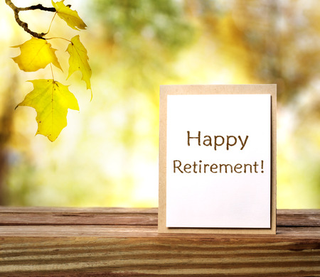 Happy Retirement message card with yellow leaves