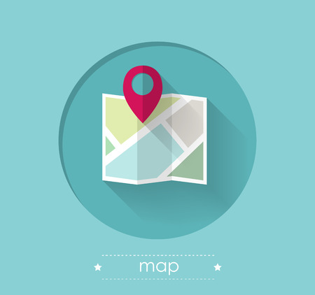 Map with Location Pin Flat Design Illustration