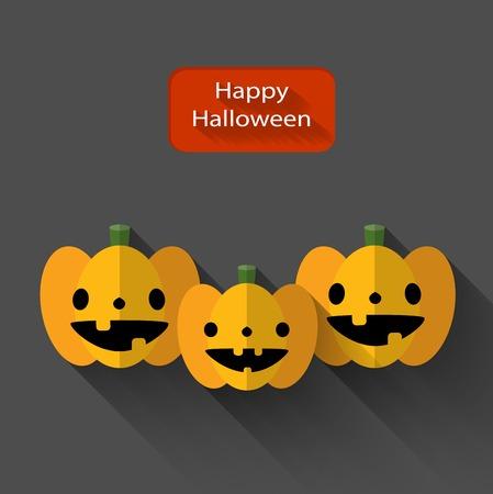 trio: Happy Halloween trio pumpkins flat illustration with long shadow