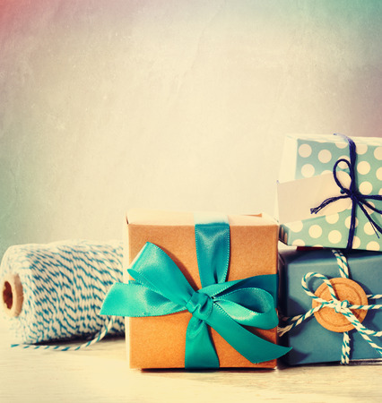blue box: Assorted light blue handmade present boxes with twine