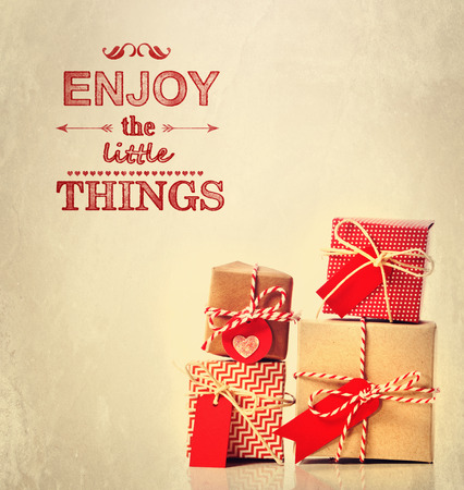 Enjoy the Little Things text, with handmade gift boxes
