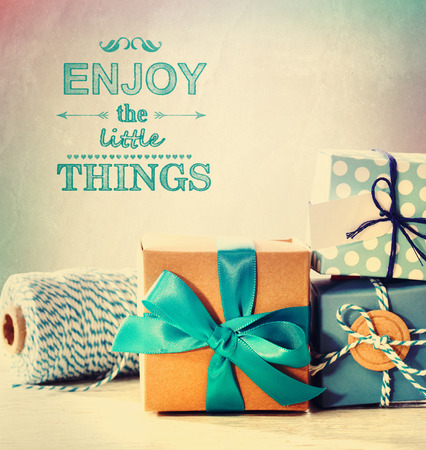 xmas crafts: Enjoy the little things with light blue handmade gift boxes