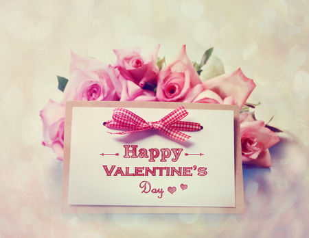 Handmade Valentines Day card with pink roses photo
