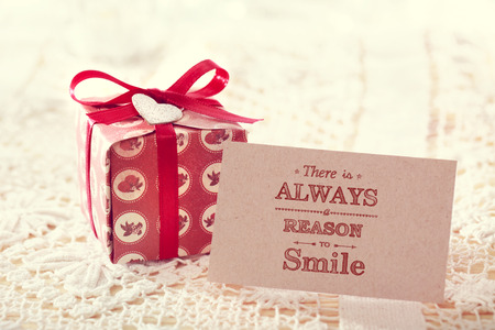 giftbox: Motivational message card with handmade small giftbox