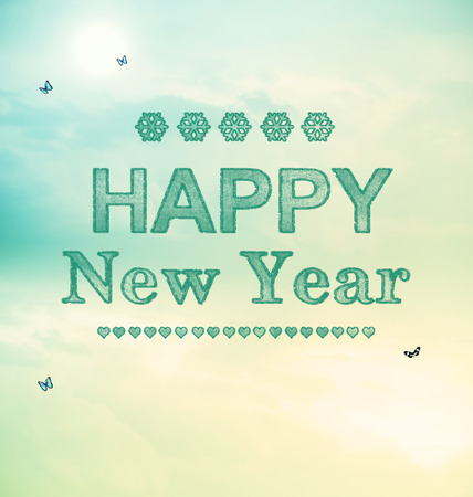 new scenery: Happy New Year message with small butterflies