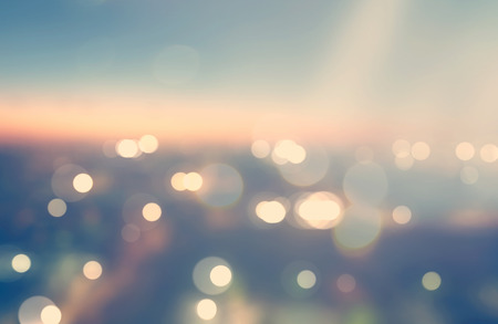 Blurred cityscape background scene at dawn from above