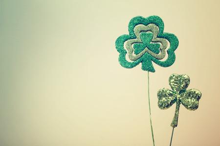 Saint Patricks Day shiny green clover ornaments photo