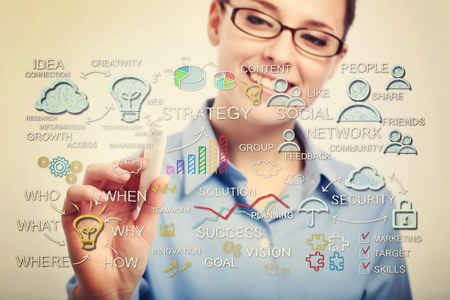 Young business woman with eyeglasses drawing business strategy concepts photo