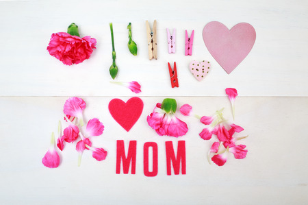 clothespins: Mom text with clothespins and carnation flowers