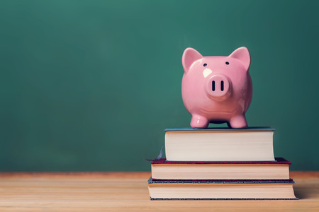 banco dinero: Banco guarro rosado encima de los libros con la pizarra en el fondo Foto de archivo