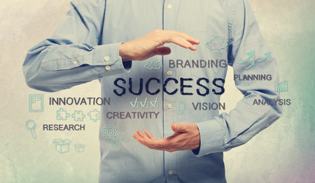 Success and creativity concept with young man and handwriting cartoon photo