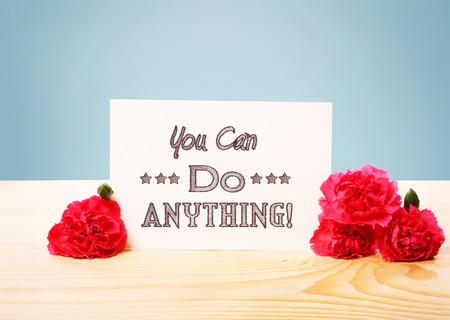 anything: You Can Do Anything message with pink carnation flowers