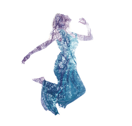Double exposure of young woman jumping with abstract leaves