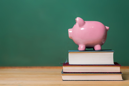 money in the bank: Piggy bank on top of books with chalkboard, cost of education theme