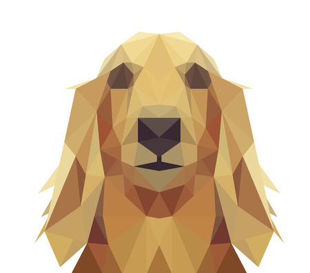 golden texture: Low Poly Geometric Dog Design - Long Hair Dachshund, Golden Retriever or Saluki