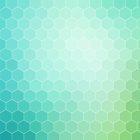 Blue green colored hexagon pattern background with white outline