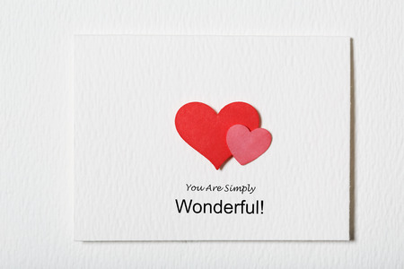 simply: You Are Simply Wonderful white message card with hand made hearts