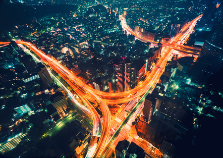 night highway: Aerial view cityscape at night in Shinjuku, Tokyo, Japan