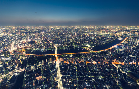 Aerial view cityscape at night from the Tokyo Skytree