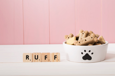 Doggy bowl decorated with a paw print filled with dried dog biscuits against a wooden pink background with copyspace